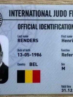HENRI-NICOLAS RENDERS - ARBITRE CONTINENTAL - IJF LICENCE B - FELICITATIONS!
