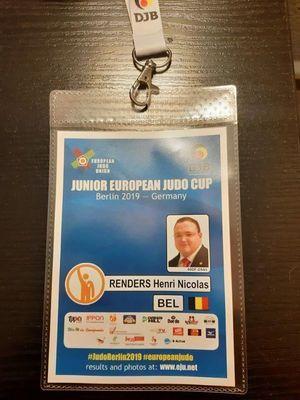 EUROPEAN CUP JUNIORS BERLIN - 27 & 28 JUILLET 2019 - ARBITRAGE - HENRI-NICOLAS RENDERS - FELICITATIONS !
