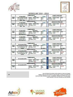 INTERCLUBS 2019 - TIRAGE AU SORT ET ORDRE DES RENCONTRES EN D4B - MARS & NOVEMBRE 2019 - LE JUDO CLUB CHAUMONT-GISTOUX SERA DE LA PARTIE !