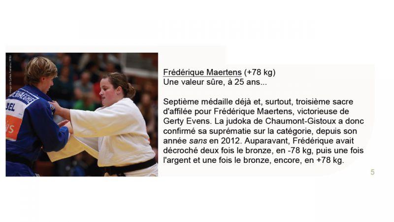 NEWSLETTER DECEMBRE 2015 DE LA FFBJ - FREDERIQUE MAERTENS: UNE VALEUR SURE A 25 ANS.....